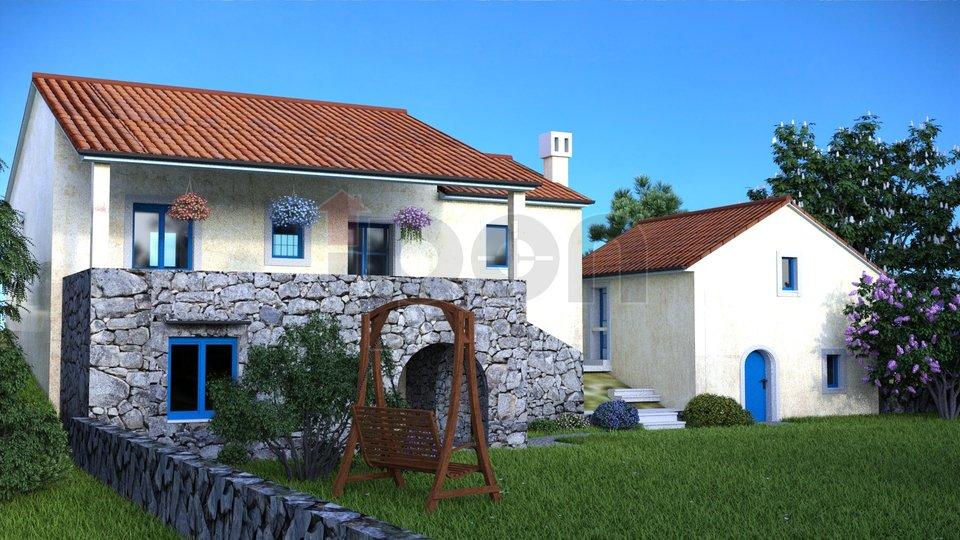 Šmrika, primorska stara kuća sa gospodarskom zgradom i ruševinom pomoćnom zgradom!