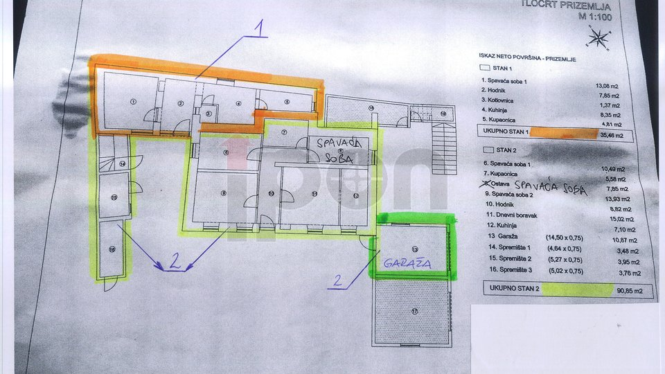 D.Vežica, etaža sa dva stana i garaža